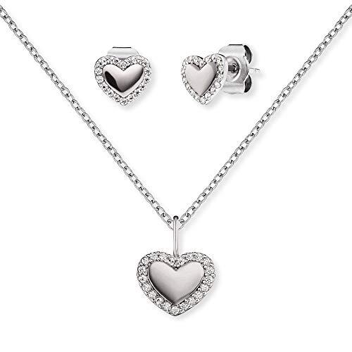 Engelsrufer Set ERMT-LILHEART3-ZI Halskette und Ohrstecker Sterling Silber synthetische Zirkonia