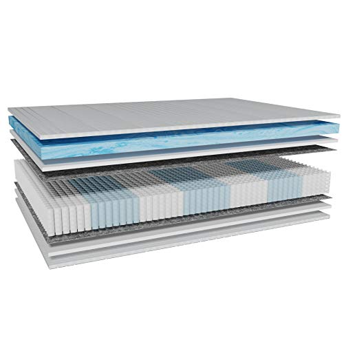 AM Qualitätsmatratzen - Premium Gelschaum-Matratze 90x200cm H2-1000 Federn - Taschenfederkernmatratze Gelschaum 90 x 200-6 cm Gelschaum-Auflage - 24cm Höhe - Made in Germany