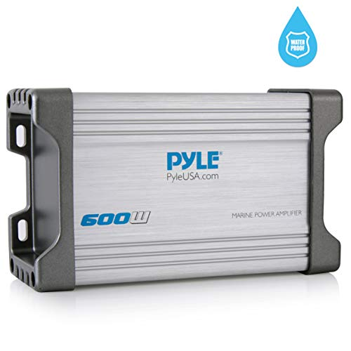 Pyle 2-Channel Marine Amplifier Receiver - Waterproof and Weatherproof Audio Subwoofer for Boat Stereo Speaker & Other Watercraft - 600 Watt Power, Wired RCA, AUX and MP3 Audio Input Cable - PLMRMP2A