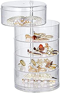 5-Layers Rotatable Small Jewelry Box Earring Holder for Women,Jewelry Storage Box Jewelry Accessory Storage Tray with Lid ...