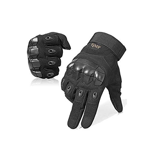QMP ORIGINAL Tactical Gloves for Men Military Gloves for Shooting Airsoft Paintball Motorcycle Climbing Riding Heavy Duty Work Hunting Protect Full Finger Touch Screen Knuckle Gloves Black Xlarge