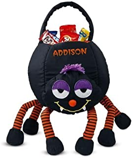 Lillian Vernon Spider Personalized Halloween Treat Bag – Large Trick or Treat Tote & Candy Basket for Kids, Polyester, 9