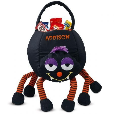 """Lillian Vernon Spider Personalized Halloween Treat Bag – Large Trick or Treat Tote & Candy Basket for Kids, Polyester, 9"""" L X 7"""" W X 22"""" H (Bottom of Legs to top of Handle)"""