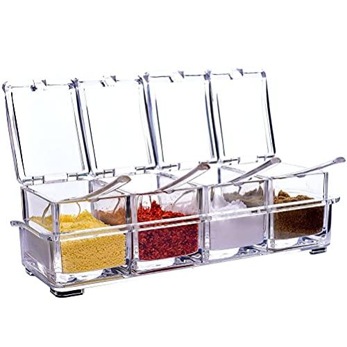 4 Stück Gewürzbox mit Löffel, Gewürz Box Set Abnehmbar Spice Dosen Gewürzbox mit Deckel für Pfeffer,Zucker,Salz,Gewürze