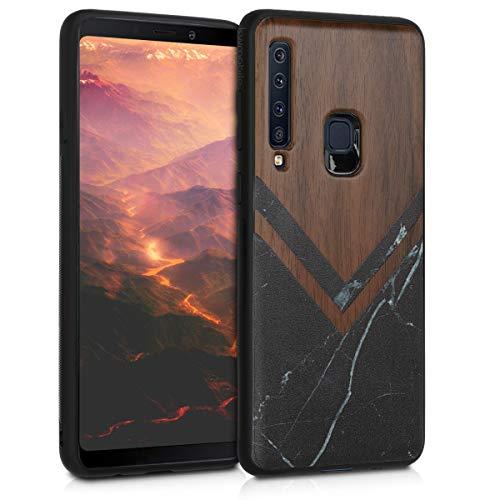 kwmobile Schutzhülle kompatibel mit Samsung Galaxy A9 (2018) - TPU Bumper - Holz Glory Marmor Schwarz Weiß Dunkelbraun