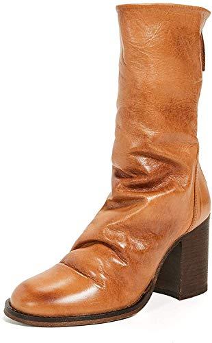 Free People Elle Block Heel Slouchy Leather Boot Tan