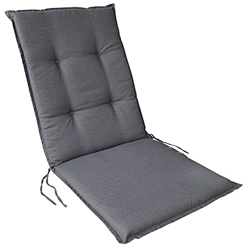 DILUMA | Niedriglehner Auflage Rhodos 109x45 cm Anthrazit | Sitzauflage mit 5,5 cm Polster | Polsterauflage für Gartenstühle | Strukturgewebe aus 100% Baumwolle