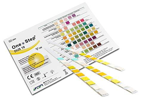 One+Step Gesundheitstest für 10 Werte 15 Stück mit Referenzfarbkarte - Urin Testreifen für Keton pH Glukose Protein und weitere Werte