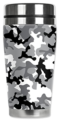 Mugzie 979-MAX Tasse de voyage en acier inoxydable avec housse isotherme Motif camouflage gris 590 ml Noir