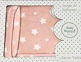 Sabanas invierno Velvet CUNA 60 x 120 cm (bajera+encimera+funda almohada) (Danielstore) (estrella rosa velvet)