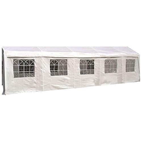 DEGAMO Seitenplane für Zelt 10x4 Meter, PE Weiss mit Fenstern