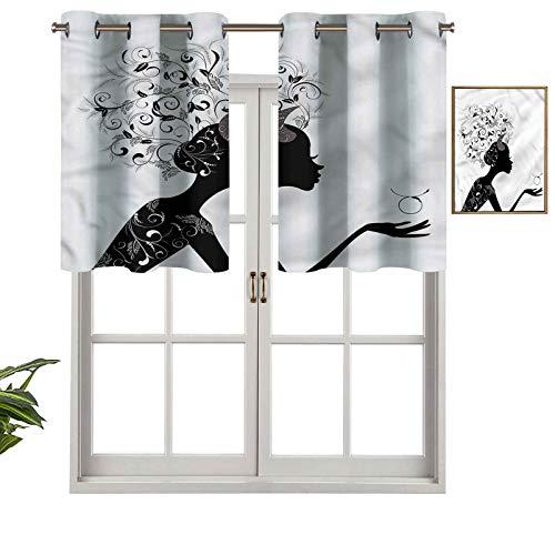 Hiiiman Cortina de ventana con filtro de luz, ojales, cenefa superior, diseño floral, color negro, juego de 1, 127 x 45 cm para ventanas, dormitorio, cocina o baño