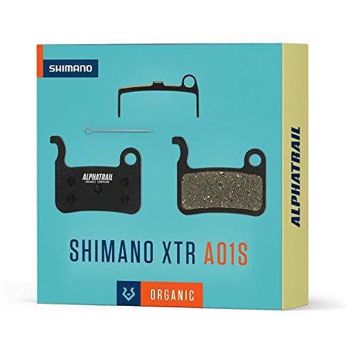 Alphatrail Bremsbeläge - Shimano A01S I Organischer MTB Bremsbelag mit hoher Bremskraft & Laufleistung I 100% Passgenau für Fahrrad Scheibenbremse von Shimano XTR XT SLX LX Saint Hone Alfine MTB
