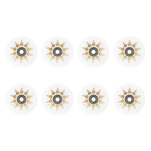 SSCYHT Ruedas de Patinaje en línea 90A Ruedas de Repuesto de Hockey sobre Ruedas de Patinaje en línea para Exteriores con rodamientos (Paquete de 8) para niñas y niños,Blanco,76mm