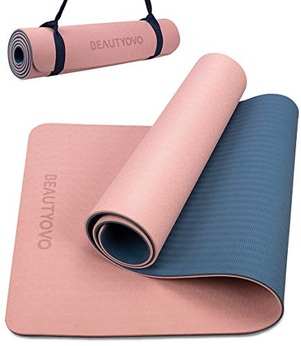 Yoga Mat with Strap, 1/3 Inch Extra Thick Yoga Mat Double-sided Non...