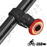 runhua Luz Trasera Bicicleta Inteligente, Luz Trasera Bici Recargable USB, Auto On/Off, LED Luz Bicicleta Impermeables para Máxima Seguridad de Ciclismo