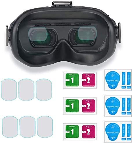 Linghuang - Protector de pantalla de cristal templado para DJI FPV Goggles V2 antiarañazos 9H Dureza Protección Accesorio antipolvo antitranspiración (3 pares)