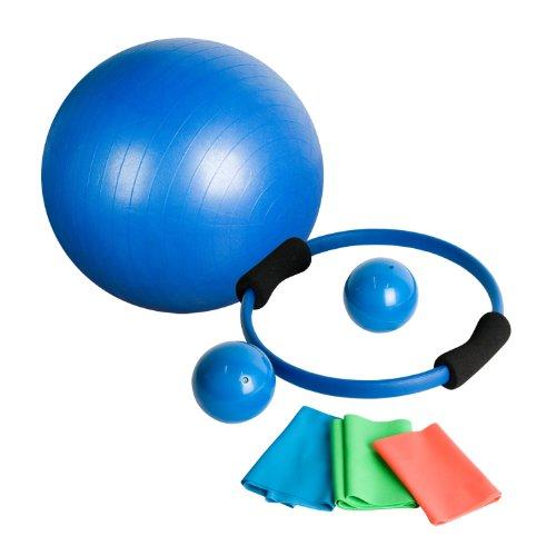 Movit 7-teiliges Yoga-Set, Pilates-Set, inkl. 1x Gymnastikball, 2X Medizinball, 1x Pilatesring, 3X Gymnastikbänder