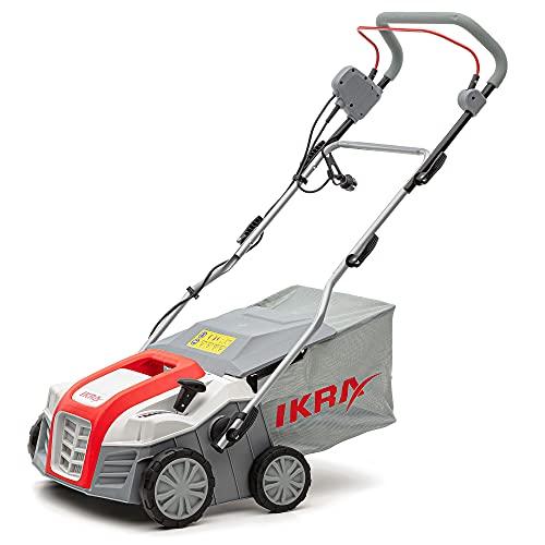 IKRA Elektro Vertikutierer Rasenlüfter IEVL 1840 Fangkorb 55l Arbeitsbreite 40cm Arbeitstiefe einstellbar 1.800W Grau/Rot/Schwarz