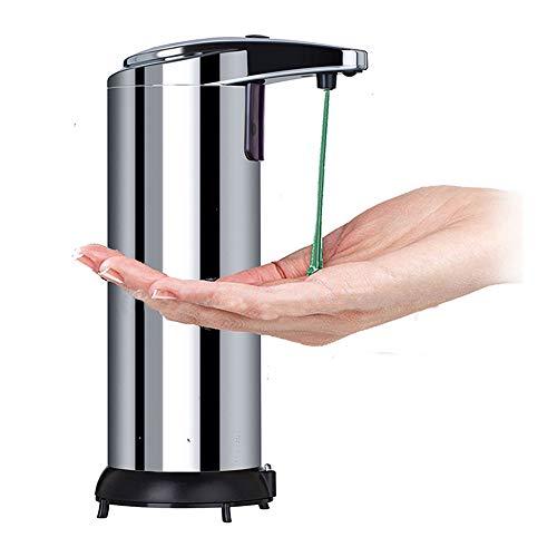 Hangrow Sensor Seifenspender Edelstahl 250 ml, Desinfektionsspender Stehend Berührungsloser Handdesinfektionsmittel, Batteriebetrieben, Wasserdicht, für Zuhause Küche