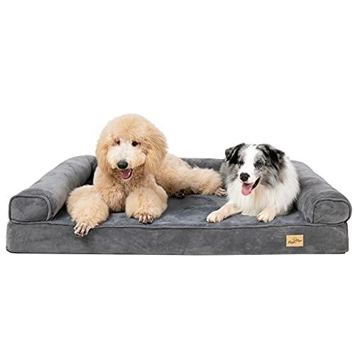 BingoPaw Cama para Perros Grandes, Cama Ortopédica de Esponja para Mascotas, Desmontable Impermeable y Lavable, Colchoneta Perro Antideslizante y Suave, Color Gris, 115 x 90 x 22cm