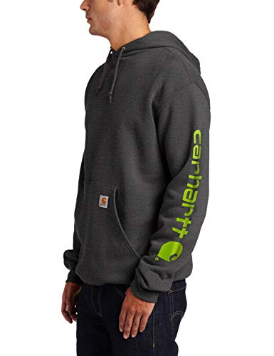 Carhartt Men's Big Midweight Sleeve Logo Hooded Sweatshirt (Regular and Big & Tall Sizes), Carbon Heather, X-Large Tall