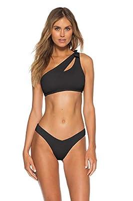 Becca by Rebecca Virtue Women's Color Code Asymmetrical Bikini Top Black M