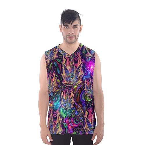 Custom Men's Psychedelic Tanktop Digital Full Print Sleeveless Vest Basketball Tank Top Shirt (2XL)