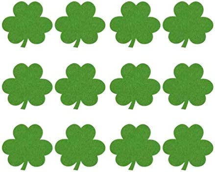 Amosfun 12pcs Irish St Patricks Day Shamrock Coasters Cup Pads for Home Restaurant Green product image