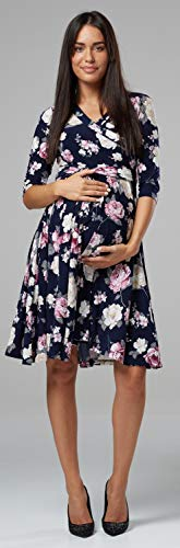 Happy Mama.Damen 2in1 Umstands Gerafften Stillkleid Doppelschicht 3/4 Ärmel.609p - 7