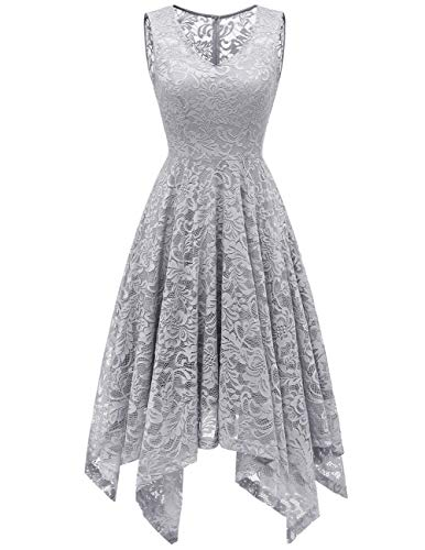 Meetjen Damen Elegant Spitzenkleid V-Ausschnitt Unregelmässiger Asymmetrischer Saum Festliches Kleid Cocktail Abendkleid Grey XL