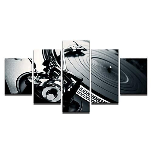 Leinwand Bilder Home Wandkunst Dekor 5 Stück Musik DJ Konsole Instrument Malerei Nachtclub Wandmalerei Poster Poster + Retro Musik DJ Konsole Musikinstrument + Retro Musik DJ Konsole Musikinstrum