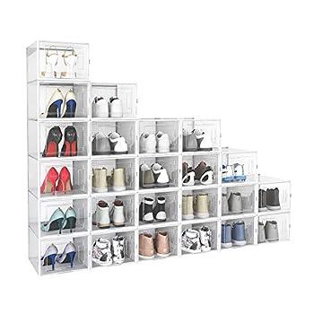 Crestlive Products 24 Pack Shoe Storage Box Plastic Foldable Shoe Box Stackable Clear Shoe Organizer  X-Large/ White