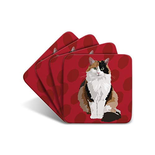 deliktrechts Cat–Set aus 4Untersetzern–Leslie Gerry Animal GESCHENKE