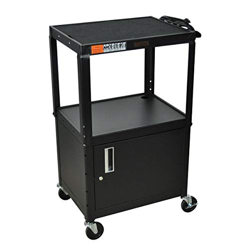 H WILSON W42ACE Adjustable Height Cabinet AV Cart, Black