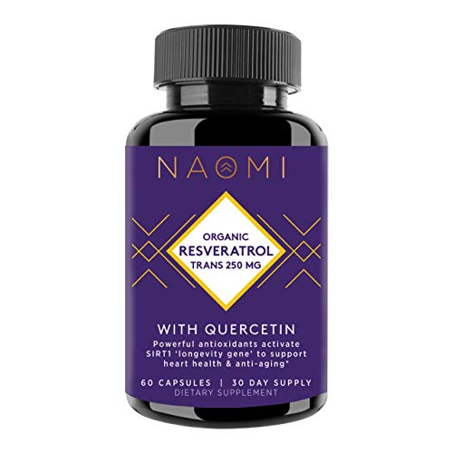 NAOMI Resveratrol Supplement 250mg, Antioxidant Rich, Brain Booster Supplement with Active Trans Resveratrol for Cardiovascular Health, Anti Inflammatory and Anti Aging Supplement, 60 Capsules