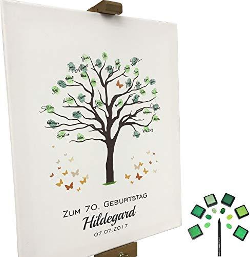 KATINGA Personalisierte Leinwand zum Geburtstag - Motiv Baum - als Gästebuch für Fingerabdrücke...