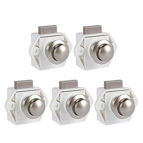 5 Stück Push Button Catch Door Lock Verriegelung Türschloss Keyless Schrank Lock mit Druckknopf Verschluss Schrankknopf Lock für Schrank,Wohnmobil, Boot,Wohnwagen (Weiß)