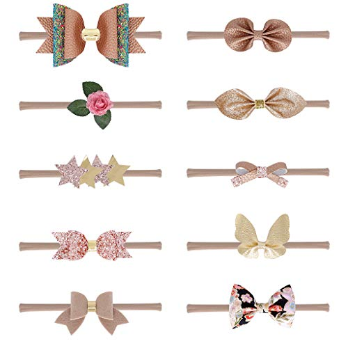 Viccoo Banda Para El Cabello 10 Piezas Set Nacidos Baby Kids Champagne Color Series Cinta De Nylon Delgado Faux Leather Glitter Lentejuelas Bowknot