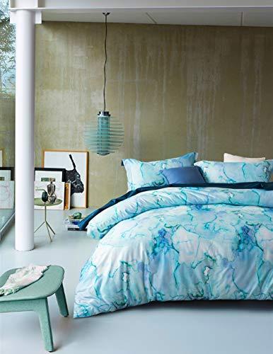 MILDLY Duvet Cover Set King Size Aqua Blue Ink Marble Pattern Breathable Cotton Soft 3 Pieces Bedding Collection, Aibertine