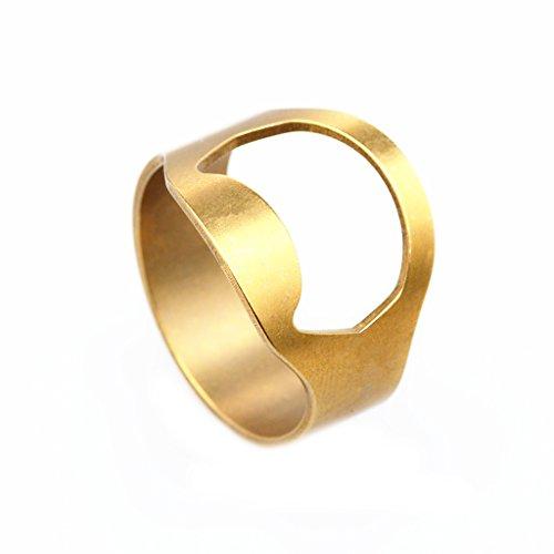 dailymall Herren Chic Edelstahl Vielseitig Bier Bar Flasche Open Ring Bike Ring - Gold