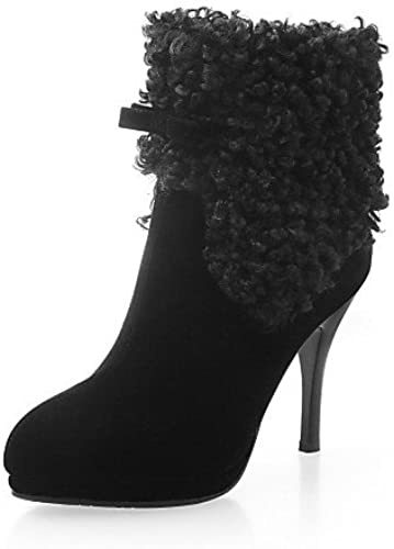 XZZ  zapatos de mujer - Tacón Stiletto - Botines   Puntiagudos - botas - Vestido - Vellón - negro   rojo