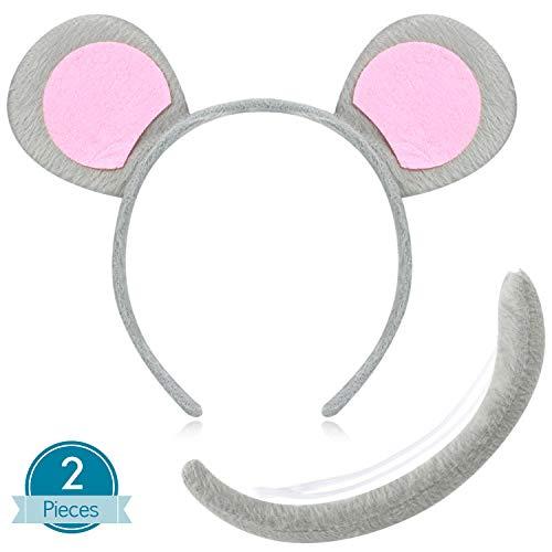 WILLBOND Conjunto de Disfraz de Animal Set de Disfraz Animal de Diadema de Oreja Cola Disfraces Elegante Accesorio de Decoración de Fiesta (Ratón)