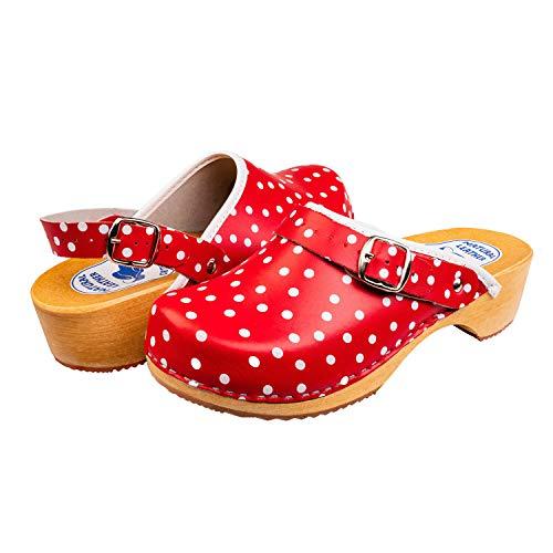 Slippers World, zoccoli in pelle da donna, svedese naturale, con suola in legno, facili da indossare, con fibbia a strappo, finitura liscia, disponibili in tutte le taglie UK, Rosso (Rosso), 38 EU