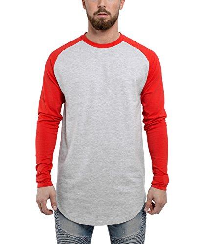 Blackskies Baseball Longsleeve T-Shirt | Langes Oversize Fashion Basic Langarm Raglan Herren Longshirt Long Tee Melliert - Grau-Rot X-Large XL