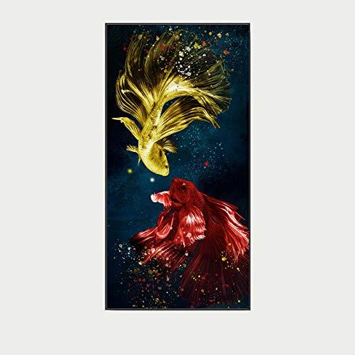 OLGKJ Koi Feng Shui Carpa Lotus Estanque De la Lona Pared Arte Salon Pintura Moderno Poster Impresiones Nórdico Pared Cuadros Inicio 50×100cm Sin Marco