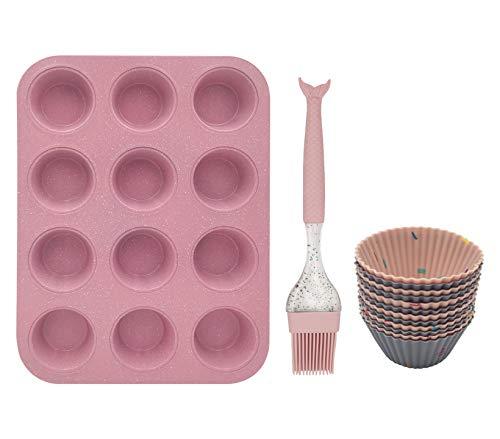 12 foremek do muffinek, blacha na muffiny z różową szczotką silikonową w kształcie rybiego ogona, 12 muffinek, 3 sztuki