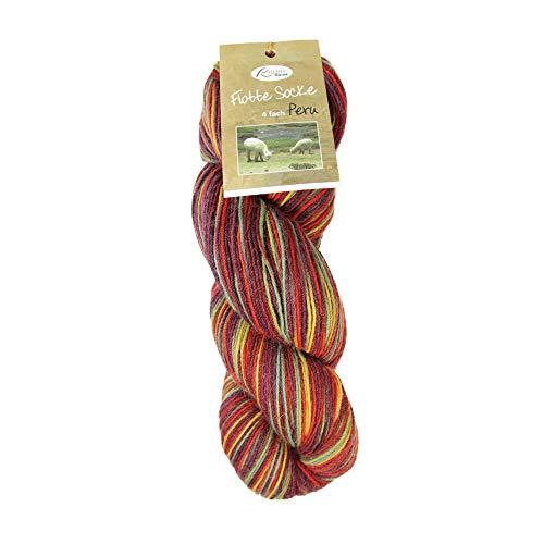 Rellana Flotte Socke 4ply Peru, Fb. 1313, 100g Wolle handgefärbt aus Peru, mit Merinowolle und Alpaka superfine zum Socken stricken oder für Lacearbeiten