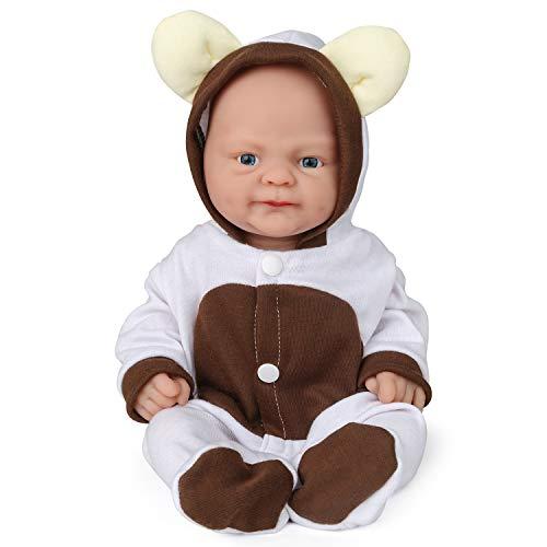 Vollence Poupée Reborn bébé réaliste 36 cm, sans PVC, Silicone Platine, Corps Complet Aspect réel, Réaliste, Doux fabriqué à la Main avec vêtements - Fille