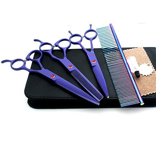 ZGHIAO 7.0in Professional Pet Grooming Scissors Set, gerade & Ausdünnung & Gebogene Schere Ausdünnungsschere, Gebogene Schere, Grooming Comb S 4-teiliges Set für die Hundepflege